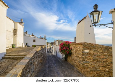 Europe, Portugal, Alentejo-street view of Monsaraz medieval village in the afternoon.