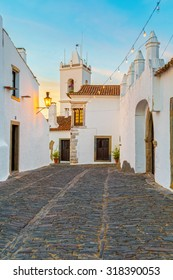 "Europe, Portugal, Evora - Monsaraz village street view at sunset,  near the biggest artificial lake ""Alqueva"" in Europe"