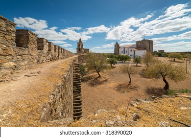 Europe, Portugal, Evora- Mourao village, view from medieval castle