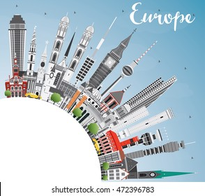 Europe skyline silhouette with different landmarks and copy space. Business travel and tourism concept with place for text. Image for presentation, banner, placard and web site.