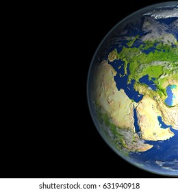 Europe from space on Earth. 3D illustration with detailed planet surface. Elements of this image furnished by NASA.