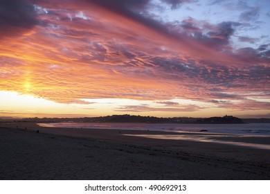 Europe, Spain, Cantabria, Santander, Sunset above Santander city from Somo Beach in summer.