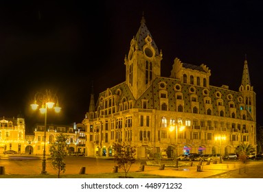 The Europe Square is one of the most beautiful locations in city, especially in bright illumination, Batumi, Georgia.