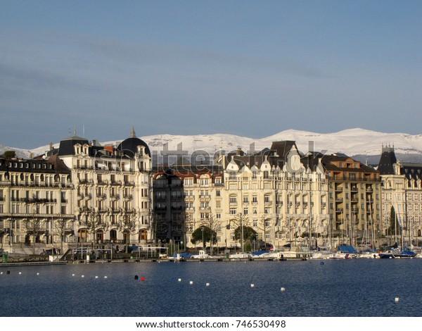 Europe. Switzerland. Geneva. Winter 2015. Embankment.