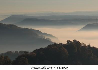 Europe, Transylvania, Romania, Maramures County, Dobricu Lapusului and Targu Lapus, territorial view. sunrise. hillside and valley.