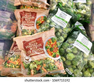 Europe UK Bedfordshire Bedford 14th April 2018. Inside major supermarket. Mixed bags of frozen vegetables and Brussels sprouts. Prepacked convenience foods.