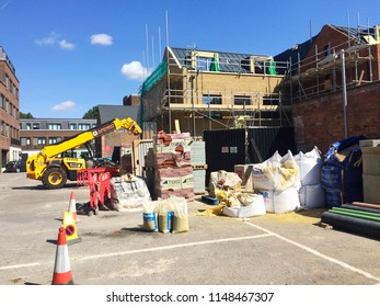Europe UK Bedfordshire Bedford August 2018. Building construction site on offices being converted into residential apartments.