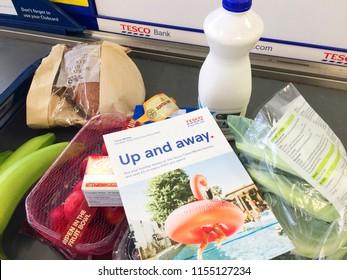 Europe UK Bedfordshire Bedford August 2018. Inside major supermarket. Food items at checkout till.
