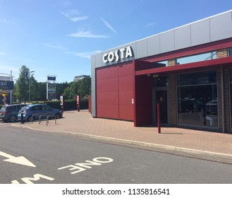 Europe UK Bedfordshire Bedford July 2018. Outside aspect of Costa Coffee shop. Retail car park.