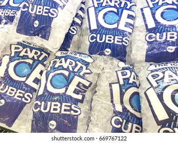 Europe UK Bedfordshire Bedford July 2017. Supermarket freezer full of ice cube bags for sale.