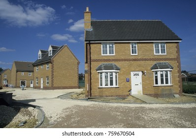 Europe UK Bedfordshire Clapham 2000. New homes for sale. Housing estate in process of being built for public sale.
