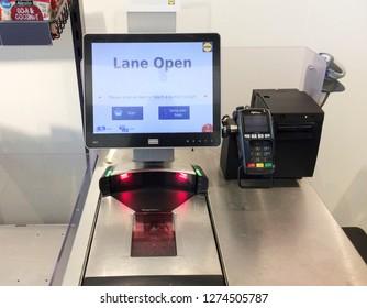 Europe UK East Lincolnshire Mablethorpe December 2018. Major supermarket bagging area. Self service scanning till and bagging area.