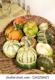 Europe UK Northamptonshire November 2018. Woven basket containing Turkish Gourds. Round and multicolored vegetables. Rustic setting in home.