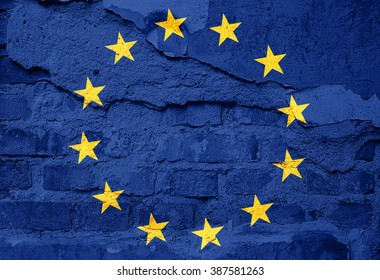 Europe union Flag painted on old wall texture