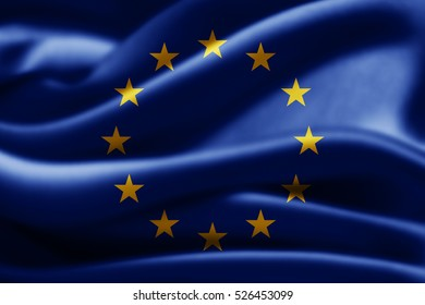 Europe union flag of silk-3D illustration