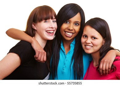 European, African and Asian women smiling together