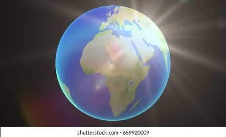 European and African globe with light.Render-3D