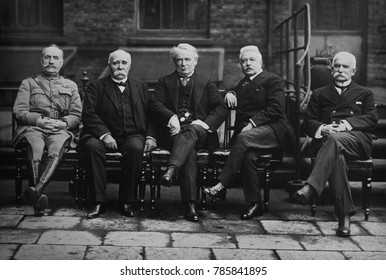 European Allied leaders in Paris Peace Conference, 1919. L-R: French Marshal Ferdinand Foch, French Premier Georges Clemenceau, British Prime Minister Lloyd George, Italian Premier Vittorio Orlando, a