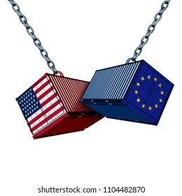 European American trade war and Europe USA tariff dispute as two opposing cargo freight containers as a Euro economic conflict over import and exports isolated as a 3D illustration.
