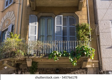 European Apartment Balcony HIstorical Building Traditional Old Architecture Italian Plants Stone Brick