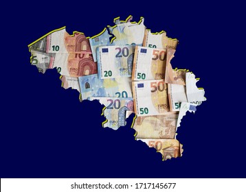 european banknotes forming and the map of Belgium and blue background