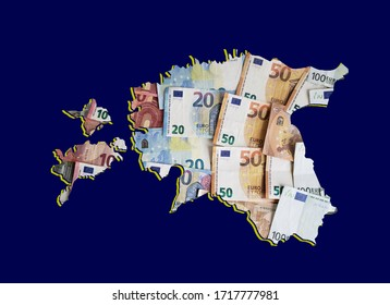 european banknotes forming and the map of Estonia and blue background