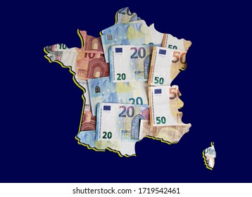 european banknotes forming and the map of France and blue background