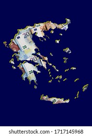 european banknotes forming and the map of Greece and blue background