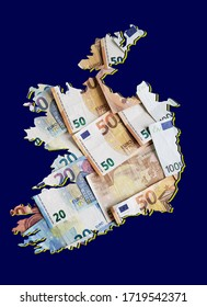 european banknotes forming and the map of Ireland and blue background