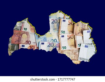 european banknotes forming and the map of Latvia and blue background