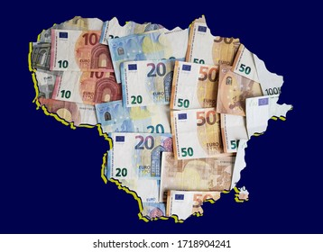 european banknotes forming and the map of Lithuania and blue background