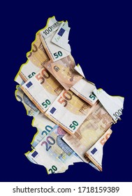 european banknotes forming and the map of Luxembourg and blue background