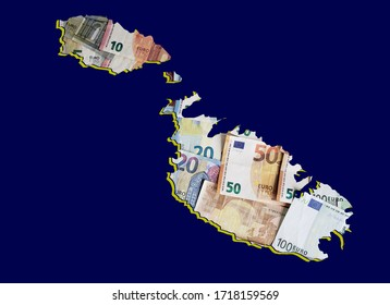 european banknotes forming and the map of Malta and blue background