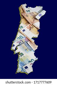 european banknotes forming and the map of Portugal and blue background
