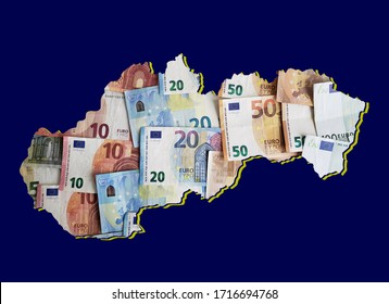 european banknotes forming and the map of Slovakia and blue background