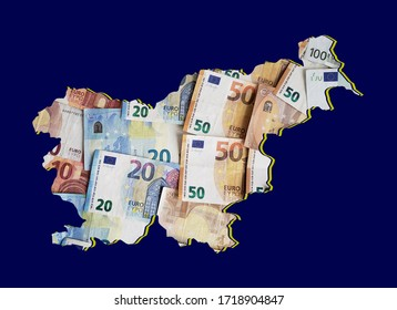 european banknotes forming and the map of Slovenia and blue background