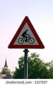 European bicycle crossing sign