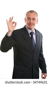 European businessman on white background.