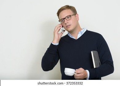 European businessman talking on phone