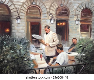 european cafe oil painting
