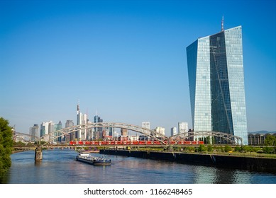 European Central Bank (ECB) in Frankfurt with skyline and view over the Main