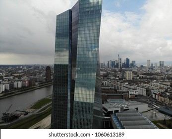 European Central Bank ECB, new building in Ostend, Frankfurt am Main, Germany, EU, view from above, April 2018, clouds