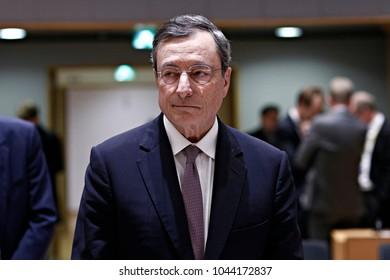 European Central Bank President Mario Draghi during a meeting of eurogroup at the EU Council building in Brussels, Belgium  on March 12, 2018.