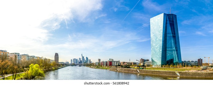 European Central Bank and Skyline of Frankfurt