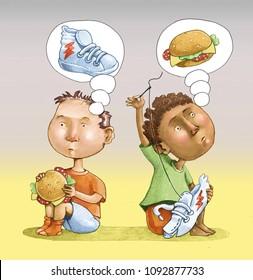 european child eats sandwich dreaming signed sporting shoe asian child he sews signed shoe dreaming a sandwich, both sad