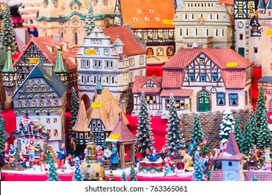 European Christmas market fair stall with different traditional gift houses in Nuremberg, Germany