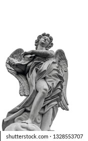 European church winged angel sculpture