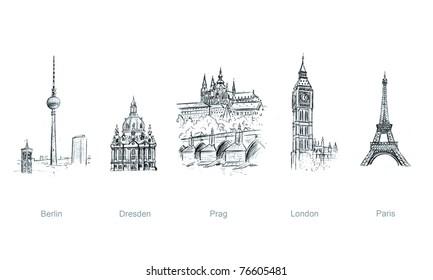 european cities, illustration