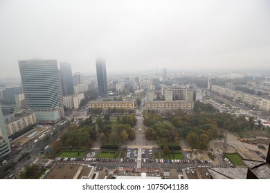 European city in in fog and smog