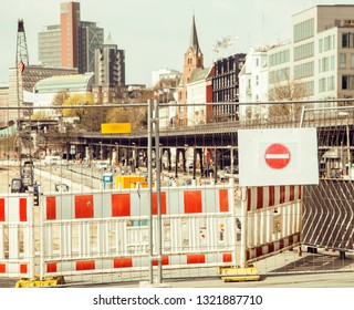 european city street on repair, partitioned traffic, stop sign, Germany, Hamburg